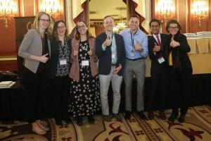 Professors Stokes and Mildenberg giving the thumbs up with other award winners at MPSA