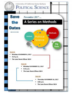 Methods Series Flyer: Nov 6 at 4:15, Nov 13 at 4:15, Nov 16 at 4:00, Ellison 3824