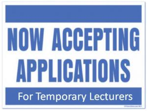 Now Accepting Applications for Temporary Lecturers