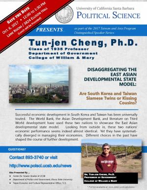 Flyer for Cheng Talk on October 6 from 12:00 to 1:30 in the Lane Room (Ellison Hall)