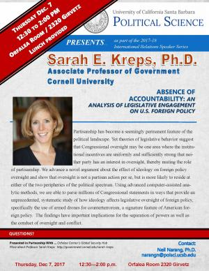 Flyer for Sarah Kreps on December 7 from 12:30 to 2:00 in the Orfalea Center Conference Room (2320 Girvetz)