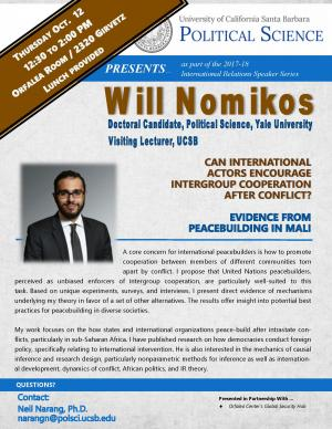 Flyer for Nomikos Talk. October 12, from 12:30 to 2:00 pm