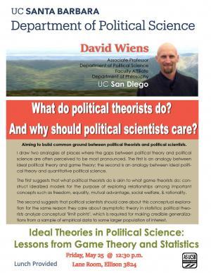 Flyer for Wiens talk, May 25, 12:30, Ellison 3824 - Lane Room